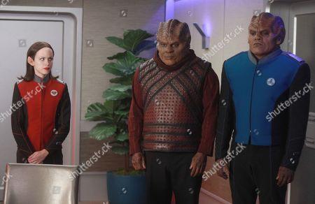 Halston Sage as Lt. Alara Kitan, Chad L. Coleman as Klyden and Peter Macon as Lt. Cmdr. Bortus