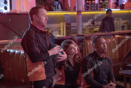 Stock Photo of Scott Grimes as Lt. Gordon Malloy, Kyra Santoro as Ensign Turco and J Lee as Lt. Cmdr. John LaMarr