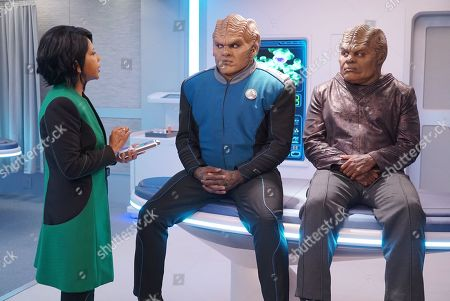 Stock Image of Penny Johnson Jerald as Dr. Claire Finn, Peter Macon as Lt. Cmdr. Bortus and Chad L. Coleman as Klyden