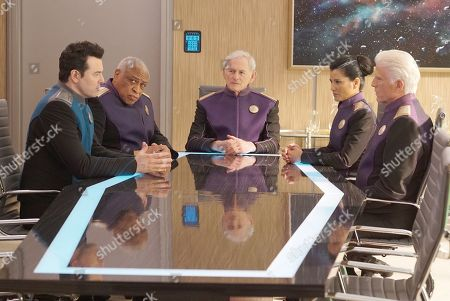 Stock Photo of Seth MacFarlane as Capt. Ed Mercer, Ron Canada as Admiral Tucker, Victor Garber as Admiral Halsey, Kelly Hu as Admiral Ozawa and Ted Danson as Admiral Perry