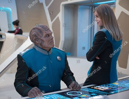 Peter Macon as Lt. Cmdr. Bortus and Adrianne Palicki as Cmdr. Kelly Grayson