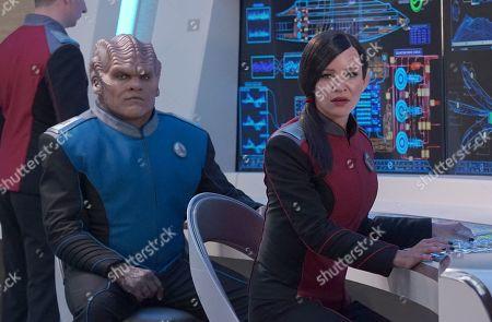 Peter Macon as Lt. Cmdr. Bortus and Jessica Szohr as Lt. Talla Keyali