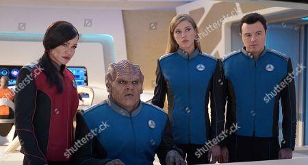 Stock Picture of Jessica Szohr as Lt. Talla Keyali, Peter Macon as Lt. Cmdr. Bortus, Adrianne Palicki as Cmdr. Kelly Grayson and Seth MacFarlane as Capt. Ed Mercer