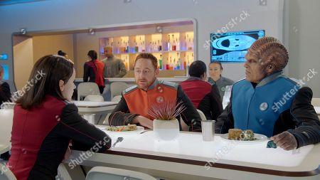 Halston Sage as Lt. Alara Kitan, Scott Grimes as Lt. Gordon Malloy and Peter Macon as Lt. Cmdr. Bortus