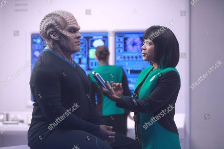 Peter Macon as Lt. Cmdr. Bortus and Penny Johnson Jerald as Dr. Claire Finn