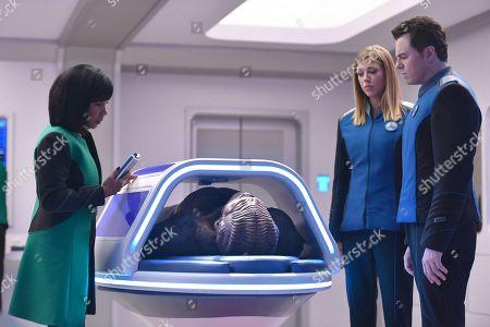 Penny Johnson Jerald as Dr. Claire Finn, Peter Macon as Lt. Cmdr. Bortus, Adrianne Palicki as Cmdr. Kelly Grayson and Seth MacFarlane as Capt. Ed Mercer
