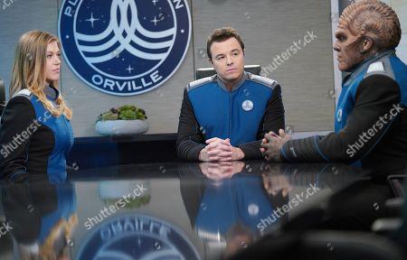 Adrianne Palicki as Cmdr. Kelly Grayson, Seth MacFarlane as Capt. Ed Mercer and Peter Macon as Lt. Cmdr. Bortus