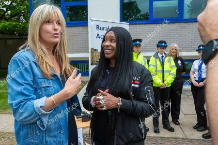 Penny Lancaster and Sandi Bogle at Cambridgeshire Police HQ in Huntingdon on Saturday morning to help with a police recruitment day.