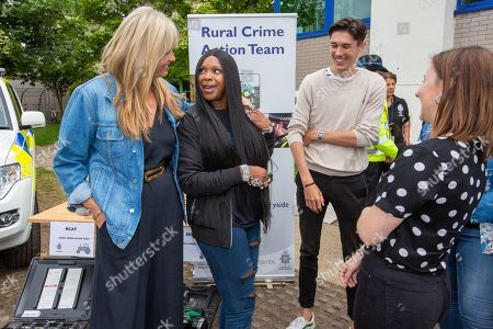 Penny Lancaster (blue coat) and Sandi Bogle at Cambridgeshire Police HQ in Huntingdon on Saturday morning talking to new recruits during a police recruitment day.