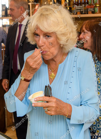 Camilla Duchess of Cornwall during a visit to Mevagissey