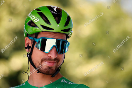 Slovakia's Peter Sagan wearing the best sprinter's green jersey stands prior to the start of the tenth stage of the Tour de France cycling race over 217 kilometers (135 miles) with start in Saint-Flour and finish in Albi, France