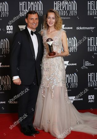 David McAllister (L) and Alice Topp (R) pose for a photograph with the award for Best Ballet for Aurum by The Australian Ballet at the 19th Annual Helpmann Awards in Melbourne, Australia, 15 July 2019. The Helpmann Awards were established in 2001 by Live Performance Australia (LPA) and are described by the organizer as 'to recognise, celebrate and promote our live performance industry, similar to the Tony Awards on Broadway and the Olivier Awards in London.'