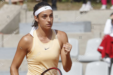 Caroline Garcia, of France, reacts after winning a game against Antonia Lottner, of Germany, during the first round match, at the WTA International Ladies open Lausanne tournament, in Lausanne, Switzerland, Monday, July 15, 2019.