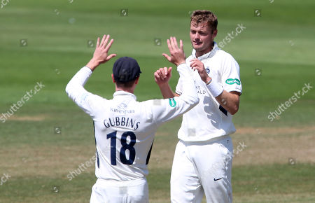 Tom Helm of Middlesex celebrates after Nick Selman of Glamorgan was caught by John Simpson.