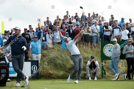 Jim Furyk of the United States drives off the 7th tee during a practice round at Royal Portrush Golf Club, Northern Ireland,. The148th Open Golf Championship begins on July 18