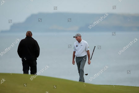 Jim Furyk of the United States walks on the 5th green during a practice round at Royal Portrush Golf Club, Northern Ireland,. The148th Open Golf Championship begins on July 18