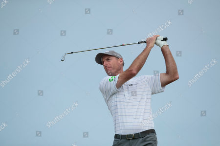 Jim Furyk of the United States plays off the 6th tee during a practice round at Royal Portrush Golf Club, Northern Ireland,. The148th Open Golf Championship begins on July 18