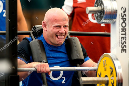Dan Cole of England trains in the gym at Clifton College