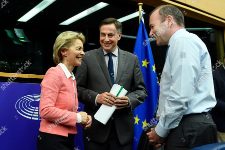 (L-R) German Minister of Defense and candidate for European Commission President Ursula von der Leyen, German Deputy David McAllister and Chairman of the European People?s Party (EPP) Group in the European Parliament Manfred Weber attend an EPP faction meeting in the European Parliament in Strasbourg, France, 15 July 2019.