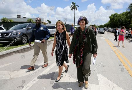 Shevrin Jones, Debbie Wasserman Schultz, Rosa DeLauro. State Rep. Shevrin Jones, D-Fla, left, Rep. Debbie Wasserman Schultz, D-Fla., center, Rep. Rosa DeLauro, D-Conn., right, arrive for a news conference following a tour of the Homestead Shelter for Unaccompanied Children, in Homestead, Fla