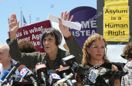 Rosa DeLauro, Debbie Wasserman Schultz. Rep. Rosa DeLauro, D-Conn., left, and Rep. Debbie Wasserman Schultz, D-Fla., right, hold a news conference following a tour of the Homestead Temporary Shelter for Unaccompanied Children, in Homestead, Fla