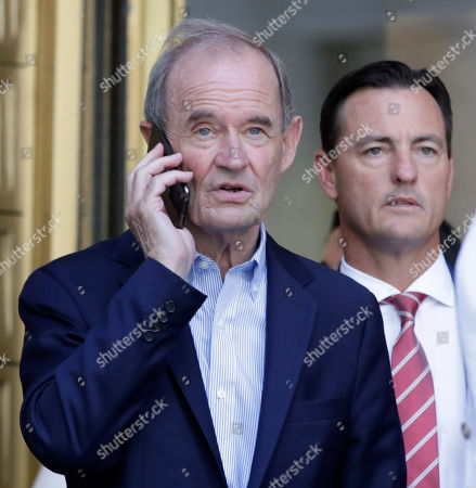 Lawyers David Boies (L) and Bradley Edwards (R) leave a detention hearing for accused sex trafficker Jeffrey Epstein at US Federal Court  in New York, New York, USA, 15 July 2019.