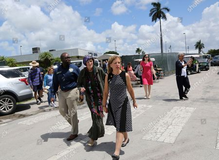 State Rep. Shevrin Jones, D-Fla, left, Rep. Debbie Wasserman Schultz, D-Fla., center, Rep. Rosa DeLauro, D-Conn., right, arrive for a news conference following a tour of the Homestead Temporary Shelter for Unaccompanied Children, in Homestead, Fla