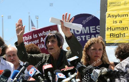 Rep. Rosa DeLauro, D-Conn., left, and Rep. Debbie Wasserman Schultz, D-Fla., right, hold a news conference following a tour of the Homestead Temporary Shelter for Unaccompanied Children, in Homestead, Fla
