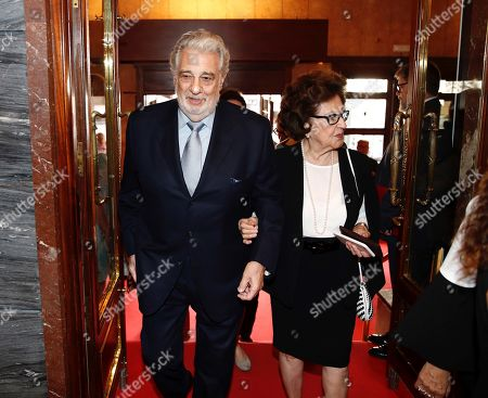 Spanish tenor Placido Domingo (L) and his wife Marta Ornelas (R) attend the 10th International Congress of Excellence organized by Madrid's Regional Government and held at Teatro de la Zarzuela in Madrid, Spain, 15 July 2019. Dominguez received the 'Excellent Prize of Spain' at the event.