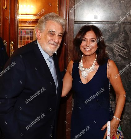 Spanish tenor Placido Domingo (L) and Spanish TV presenter Isabel Gemio (R) pose for the media during the 10th International Congress of Excellence organized by Madrid's Regional Government and held at Teatro de la Zarzuela in Madrid, Spain, 15 July 2019. Dominguez received the 'Excellent Prize of Spain' at the event.