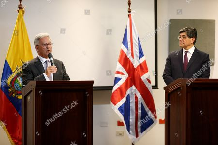 British Foreign Minister to the Americas and Europe Alan Duncan (L) and the Ecuador's Foreign Minister Jose Valencia (R) attend a press conference after a meeting where they agree that the Wikileaks founder Julian Assange will not be extradited to any country with capital punishment in Quito, Ecuador, 15 July 2019.