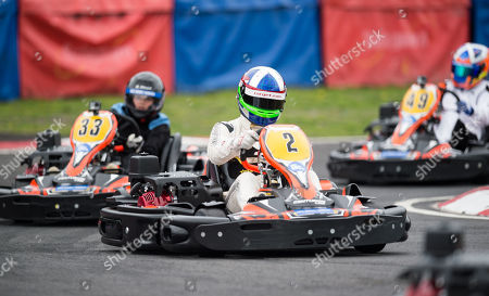 Former Indianapolis 500 Champion Dario Franchitti racing his Kart on the track