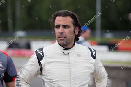 Stock Picture of Former Indianapolis 500 Champion Dario Franchitti after racing his Kart on the track