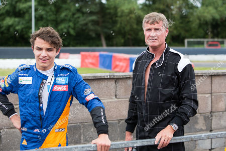 Stock Picture of Former F1 driver David Coulthard with McLaren F1 driver Lando Norris after racing on the track