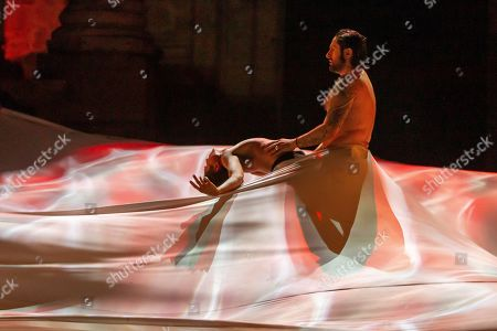Dancer and choreographer Rafael Amargo (R) performs at the International Festival of Classical Theater of Merida in Merida, Spain, 15 July 2019. The performance is a mixed show that combines flamenco, ballet, contemporary dance and audiovisual effects.
