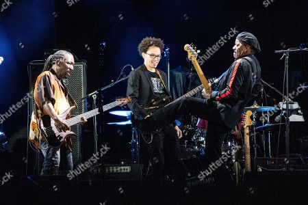 Stock Picture of Nick Daniels, Ian Neville, Tony Hall. Nick Daniels, from left, Ian Neville and Tony Hall of Dumpstaphunk perform before The Rolling Stones at the Mercedes-Benz Superdome, in New Orleans