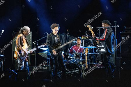Stock Image of Nick Daniels, Ian Neville, Tony Hall. Nick Daniels, from left, Ian Neville and Tony Hall of Dumpstaphunk perform before The Rolling Stones at the Mercedes-Benz Superdome, in New Orleans