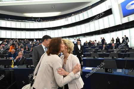 Ursula von der Leyen (R), outgoing German Defense Minister and candidate for the position of European Commission President, hugs Katarina Barley (L) of the Group of the Progressive Alliance of Socialists and Democrats in the European Parliament, before a statement at the European Parliament in Strasbourg, France, 16 July 2019. The European Parliament will vote on von der Leyen's nomination for President of the European Commission.
