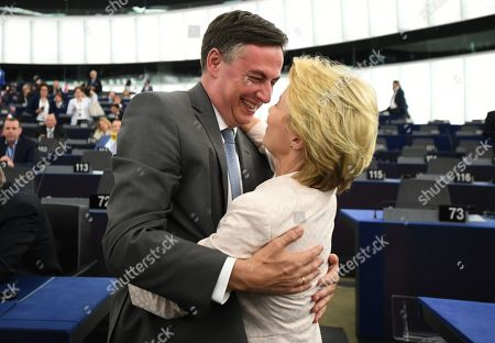 Member of Parliament from the EPP Group David McAllister (L) congratulates German Defense Minister and newly elected President of the European Commission, Ursula von der Leyen (R), after a vote at the European Parliament in Strasbourg, France, 16 July 2019. European Parliament voted in favor of Ursula von der Leyen as the new President of the European Commission.