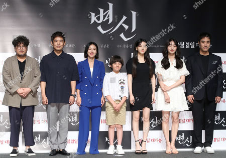 "Stock Picture of Cast members of the new movie 'Metamorphosis""'pose during a showcase at a theater in Seoul, South Korea, 16 July 2019. Kim Hong-seon, Sung Dong-il, Jang Young-nam, Kim Kang-hoon, Cho Yi-hyun, Kim Hye-joon and Bae Seong-woo. The thriller will hit local screens on Aug. 21."