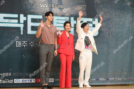 Cast members Lee Ki-woo, Park Jin-hee and Bong Tae-kyu of SBS-TV's new drama 'Doctor Detective' pose during a showcase at the broadcaster's headquarters in Seoul, South Korea, 16 July 2019. The first episode of the drama, which is about a industrial health doctor uncovering the truth behind industrial accidents, will air on July 17.