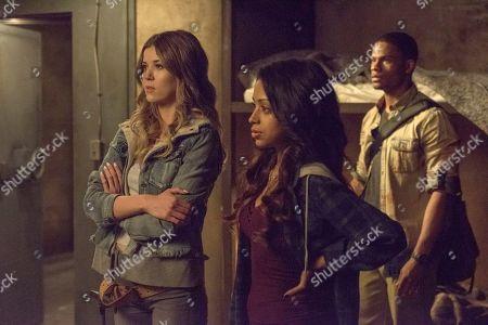 Meghan Rienks as Zoe Parker, Liza Koshy as Violet Adams and Jordan Calloway as Zane