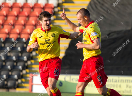 Queens Park V Partick Thistle, Befred Cup. Partick's Kenny Miller celebrates his goal with Cammy Palmer