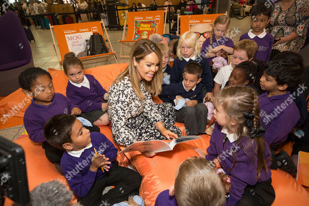 Katie Piper launches Easyjet's Flybrary by reading to children from Luton's Cockernhoe and Ramridge Primary School's at Luton Airport.