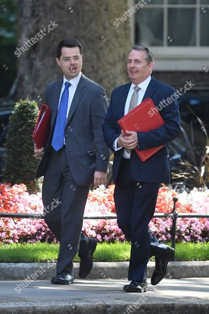 James Brokenshire, Secretary of State for Housing, Communities and Local Gov, and Liam Fox, Secretary of State for International Trade, arrive at No.10 Downing Street for a cabinet meeting.