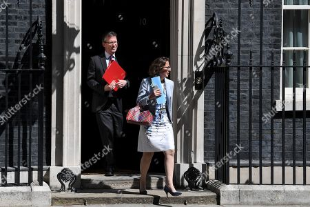 Stock Photo of Jeremy Wright, Secretary of State for Digital, Culture, Media and Sport, and Natalie Evans, Leader of the House of Lords, leave No.10 Downing Street after attending a cabinet meeting.