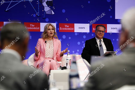 Former prime minister of Denmark, Helle Thorning-Schmidt (L) talks next to the Alternate Minister on migration policy, Giorgos Koumoutsakos (R) during the Economist conference entitled 'Europe: leaving indecisiveness behind?' in Lagonissi, near Athens, Greece, 16 July 2019.