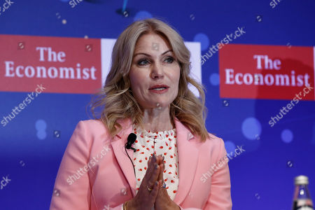 Former prime minister of Denmark, Helle Thorning-Schmidt talks during the Economist conference entitled 'Europe: leaving indecisiveness behind?' in Lagonissi, near Athens, Greece, 16 July 2019.