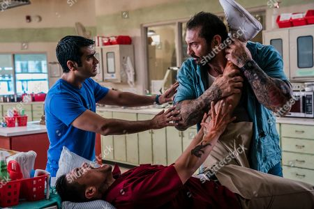 Kumail Nanjiani as Stu, Rene Moran as Amo Cortez and Dave Bautista as Vic Manning
