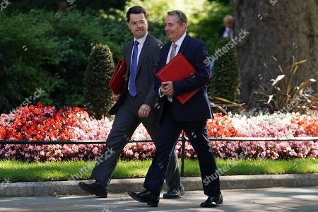 British Secretary of State for Housing, Communities and Local Government James Brokenshire (L) and Secretary of State for International Trade Liam Fox (R) arrive for a cabinet meeting in Downing Street. central London, Britain, 16 July, 2019. The contest to replace Theresa May as leader of the Conservative Party and Prime Minister will finish on 23 July when her replacement will be announced with the winner taking office a day later.